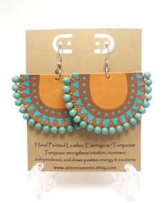Hand Painted Aztec Tribal Leather Earrings with by AimeeIsmerio, $20.00