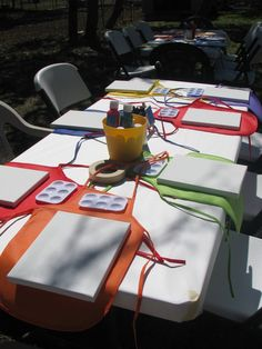 This theme is always best outside... for a nice linen use paper 'linen feel' tablecloths which can be thrown away... we love the individual coloured aprons!!!