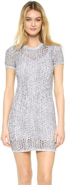 Theory Nenalo Dress - A formfitting Theory knit dress with a sheer yoke. Ribbed edges. Short sleeves. Lined.
