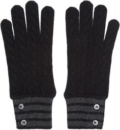 Thom Browne Black & Grey Cashmere Gloves