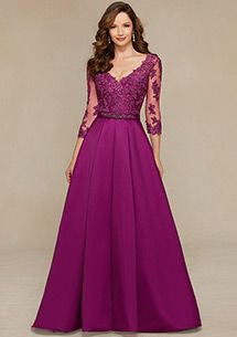 Satin V-neck Floor-length A-line Mother of the Bride Dresses with Lace Appliques