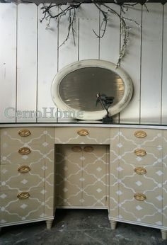 Wonderment Stencil by Royal Design Studio - stenciled and painted vanity desk by denise cerro #stencils #paintedfurniture #furniturestencils #stenciledfurniture