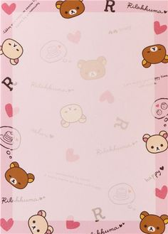 cute memo pad by San-X from Japan with brown and white bears with many pink hearts