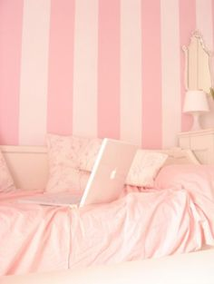 pretty in pink bedroom. Wished the girls were in love with pink so I could do this!