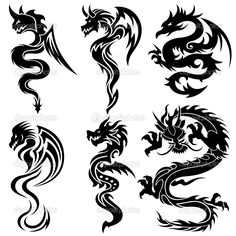 Illustration of Set of the Chinese dragons, tribal tattoo vector art, clipart and stock vectors. Tribal Dragon Tattoos, Dragon Tattoo For Women, Chinese Dragon Tattoos, Dragon Tattoo Designs, Wrist Tattoos, Sleeve Tattoos, Pintura Tribal, Dragons Tattoo, Arrow Tattoo