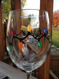 Hand Painted Christmas Lights Wine Glass for $7.00!!