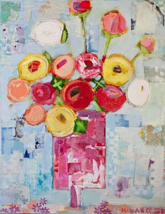 Christy Kinard is one of my favorite artists. She uses fabric in her paintings. I am dying for one to go above our bed. A local gallery reps her and I go by to just look at her work.