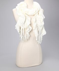 Take a look at this Ivory Ruffle Scarf by Finish the Look: Accessories on #zulily today!