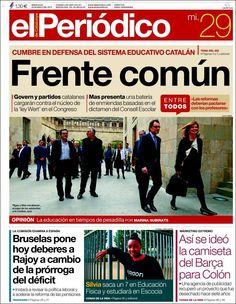 Los Titulares y Portadas de Noticias Destacadas Españolas del 29 de Mayo de 2013 del Diario El Periódico ¿Que le parecio esta Portada de este Diario Español?