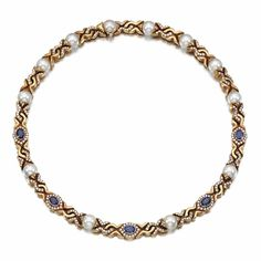 CULTURED PEARL, SAPPHIRE AND DIAMOND NECKLACE, BULGARI | Lot | Sotheby's