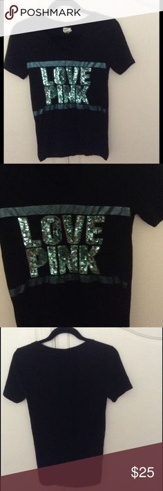 Pink Victoria's Secret Blinged Top This black v-neck top is solid on the back, on the front is Love Pink in light green sequin lined inside with the logo in light green metallic stripes.  The chest is 32 inches and the length is 27 inches.  60% Cotton/40% Polyester.  In perfect condition!! PINK Victoria's Secret Tops