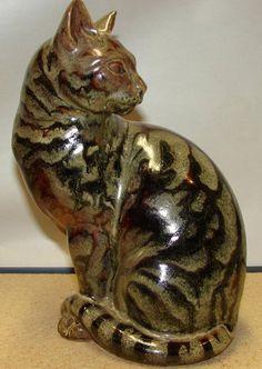 Signed vintage Charles Vyse figure of a cat in Temmoku glaze   eBay