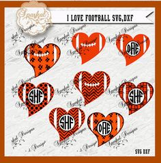 Football Heart SVG Files Football Monogram by SparkalSVGDesigns