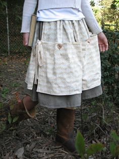 """PDF """"An a is Just 3 Sticks"""" SKIRT e-Pattern and Tutorial...sizes 2-10, Apron Skirt w/ Pockets"""