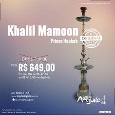 Khalil Mamoon Prince Hookah DE R$ 700,00 / POR R$ 649,00 Em até 18x de R$ 47,15 ou R$ 616,55 via depósito   Compre Online: http://www.lojadoarguile.com.br/khalil-mamoon-prince-hookah