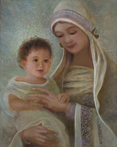 Sweet Grace by artist Nancy Lee Moran, 8 x 10 oil painting (sold), second in Madonna series, Mary and Jesus . . . Prints available from the artist