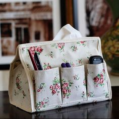 GBP - 1 X Floral Fabric Tissue Case Box Paper Holder Storage Remote Control Pocket & Garden Tissue Box Covers, Tissue Box Holder, Tissue Boxes, Tissue Paper, Linen Storage, Bag Storage, Paper Storage, Storage Boxes, Recycling Storage