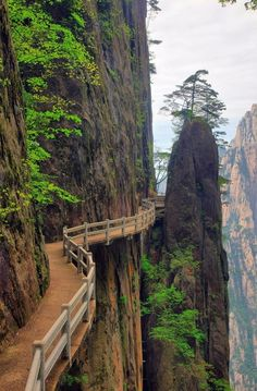 Walking on the edge.  The Yellow Mountains in Huangshan, China.