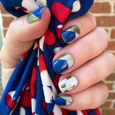 Blue and gold manicure! Perfect for homecoming games or just about anytime! #OpulenceJN #DevotedJN