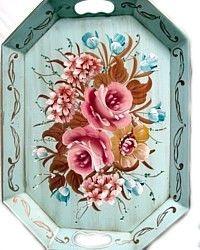 Vintage Aqua Tole Tray Pink Roses