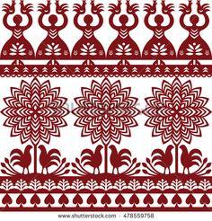 Seamless Polish folk art pattern Wycinanki Kurpiowskie - Kurpie Papercuts by RedKoala