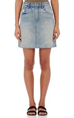 Helmut Lang Distressed Denim Miniskirt at Barneys New York