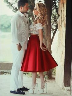 Two Pieces Lace Homecoming Dresses,Red Graduation Dresses, Said Mhamad Dresses, Short Homecoming Dress, Short Prom Dress Homecoming Dresses Knee Length, Short Sleeve Prom Dresses, Two Piece Homecoming Dress, Prom Dresses Two Piece, Tea Length Dresses, Prom Party Dresses, Party Gowns, Short Sleeves, Dress Party