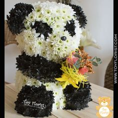 Panda made of fresh flowers @ Toy Florist  www.toyflorist.com