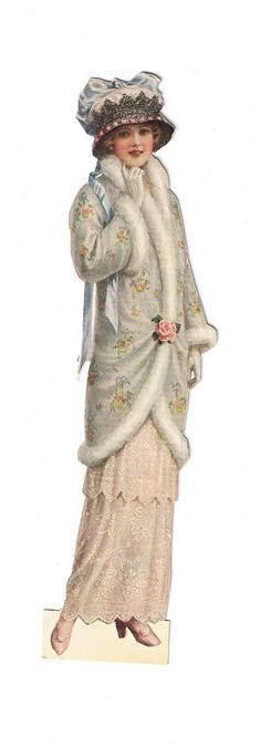 Vintage lady fashion, woman in rosy gown and grey coat with flowers and fur, big hat with bow. Decoupage Vintage, Vintage Ephemera, Vintage Postcards, Victorian Women, Victorian Art, Victorian Christmas, Edwardian Fashion, Vintage Fashion, Retro Mode