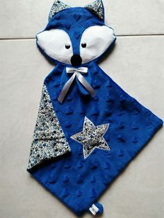Doudou Carré head Blue Fox and Liberty: Games, soft toys, comforters by bb-bzh -. Fabric Toys, Fabric Crafts, Sewing Crafts, Baby Couture, Couture Sewing, Diy Bebe, Sewing To Sell, Creation Couture, Sewing Projects For Kids