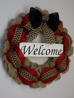 Burlap Wreath, Burlap with Welcom Sign, Front Door Wreath, Country Burlap, Large Bow, Black and Red Burlap, Burlap Wreath for the Home by BeautifulHomeAccents on Etsy