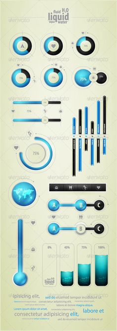 Creative and cheap infographics elements on water and liquid