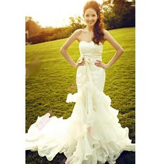 Discount White Lace Strapless Flamenco Mermaid Bridal Wedding Gowns Dresses SKU-117044