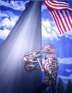 bird on flag pole