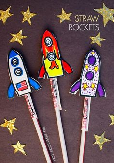 Rockets Straw Rockets- Easy Kids space activity, perfect for an Outer Space party theme craft!Straw Rockets- Easy Kids space activity, perfect for an Outer Space party theme craft! Diy Projects For Kids, Crafts For Boys, Diy For Kids, Fun Crafts, Craft Projects, Outer Space Crafts For Kids, Super Easy Crafts For Kids, Space Projects, Holiday Crafts