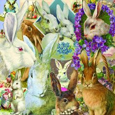 12 x 12 inch vintage Easter bunny collage printable that you can use for scrapbooking and paper crafting