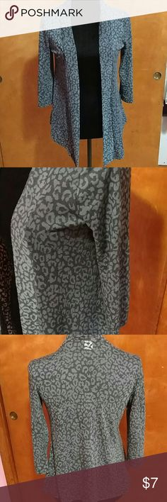 Animal Print Flyaway Cardigan - Charlotte Russe - Dark blue, semi sheer fabric - 3/4 Sleeves -Minimal Pilling  - 58% Polyester, 42% Cotton  Bust: 17 inches Length: 22 inches Sleeve: 16 inches  :D Charlotte Russe Sweaters Cardigans