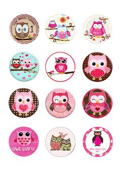 "12 PreMade Owl Set 1"" Bottle Caps For Bows or magnets $4.00"