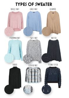 Types Of Sweater Knits Types Of Sweater Knits different knitting styles - Knitting Techniques Fashion Terminology, Fashion Terms, Types Of Fashion Styles, Types Of Clothing Styles, Fashion Websites, Clothing Ideas, Look Fashion, Diy Fashion, Trendy Fashion
