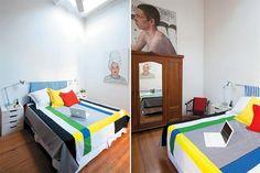 Colores primarios  Ropero de roble con espejo y mesas de luz hechas con…
