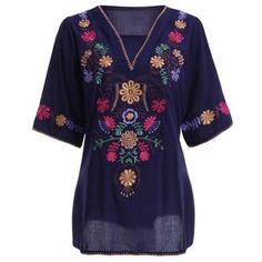 Ethnic Style Embroidery V Neck 3/4 Sleeve Blouse For Women