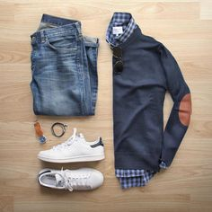 Stitch Fix Men September 2016 men's fall outfit classic cute and preppy. - Tennis Adidas - Ideas of Tennis Adidas - Stitch Fix Men September 2016 men's fall outfit classic cute and preppy. Love the elbow patch sweater. Mode Masculine, Mode Outfits, Fashion Outfits, Fashion Ideas, Fashion 2017, Hijab Fashion, Street Fashion, Queer Fashion, Fashion Trends