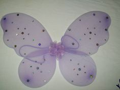 """Lavender Sequin Butterfly Wings , Elastic Arm Straps Glitter 20 x 15"""" Wings Tutu"""