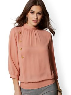 Avenue - Button-Accent Mock-Neck Blouse - New York & Company Iranian Women Fashion, Latest Fashion For Women, Womens Trendy Tops, Casual Skirt Outfits, Petite Fashion, Ladies Dress Design, Mock Neck, Fit Women, Fashion Dresses