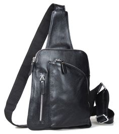 8b55a7ba2f28 Men s Black Cowhide Leather Shoulder Bag Single Strap Backpack Bicycle Small   TIDING  MessengerShoulderBagBriefcase Single
