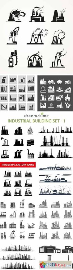 World map vector 25xeps brushes vectors pinterest industrial building set 1 25xeps gumiabroncs Images