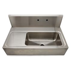 """Kerr 48"""" x 27 1/8"""" x 22"""" Stainless Steel Farmhouse Apron Kitchen Sink with Center Drain, Backsplash and Drainboard — Products 