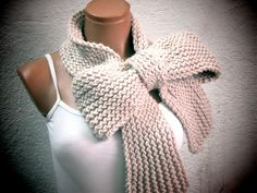 Knitted Bow Scarf Chunky Knitted Bow Ascot Neck Warmer Women's Scarf Fashion Accessories in Vanilla, SCARVES, 2014 Trend, Winter Scarfs by EmofoFashion on Etsy https://www.etsy.com/listing/163771344/knitted-bow-scarf-chunky-knitted-bow