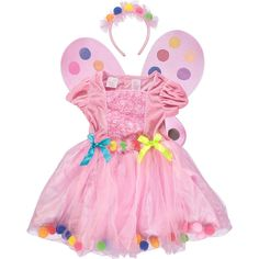 Gorgeous colorful dress with back zipper. Costumes Couture, Girls Dress Up, Fairy Wings, Fairy Dust, Complete Outfits, Pretend Play, New Girl, Minnie Mouse, Brand New