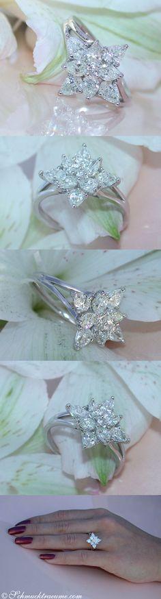 "Picture Perfect ""Star"" Ring with Pear Shape Diamonds, 1.62 ct. G VS1,Whitegold 18K - Like: https://www.facebook.com/Noble-Juwelen-150871984924926/"